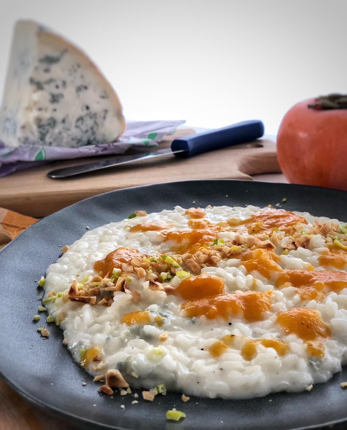 risotto gorgonzola di capra cachi