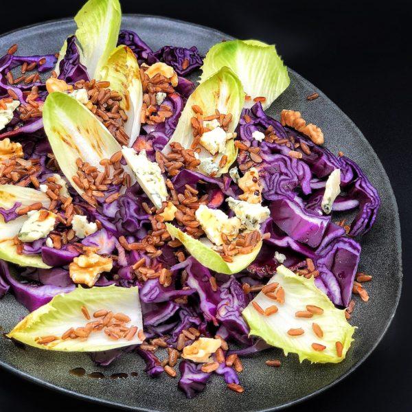 Riso rosso con verdure e gorgonzola alla vinagrette di aceto balsamico