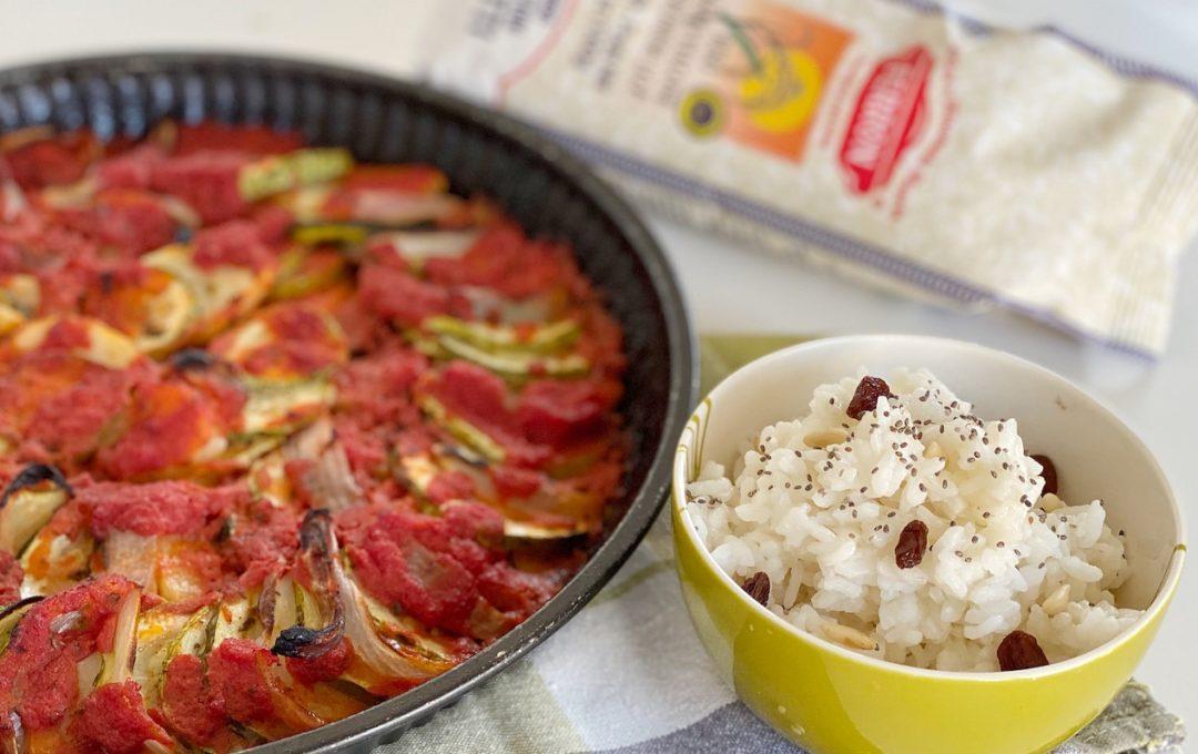 riso freddo pilaf e verdure in teglia